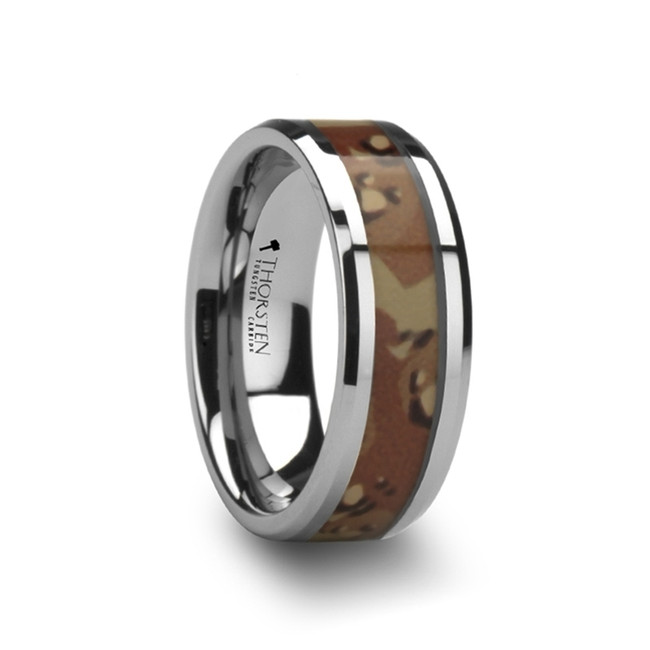 Nireus Tungsten Wedding Ring with Military Style Desert Camo Inlay from Vansweden Jewelers