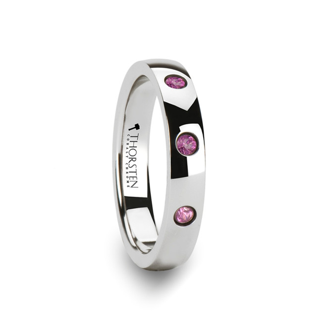 Carius Rounded White Tungsten Wedding Band with 3 Pink Sapphires from Vansweden Jewelers