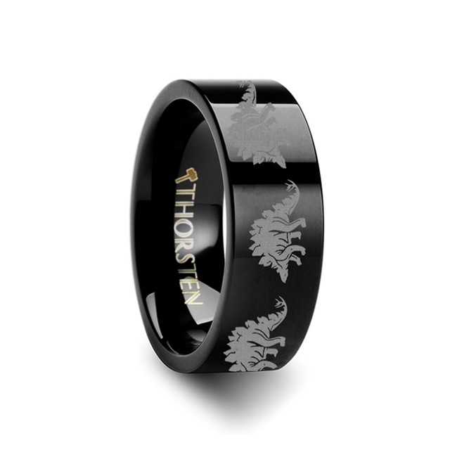 Hodites Stegasaurus Dinosaur Engraved Flat Black Tungsten Ring from Vansweden Jewelers
