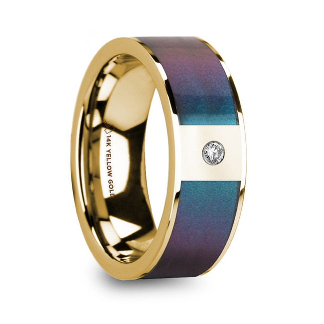 Iphthime 14K Polished Yellow Gold Men's Ring with Blue/Purple Color Changing Inlay & Diamond from Vansweden Jewelers