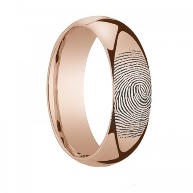 Callithyia Fingerprint Engraved Domed Rose Gold Plated Tungsten Ring from Vansweden Jewelers