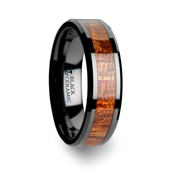 Hodoedocus Black Ceramic Band with Polished Bevels and Exotic Mahogany Hard Wood Inlay from Vansweden Jewelers
