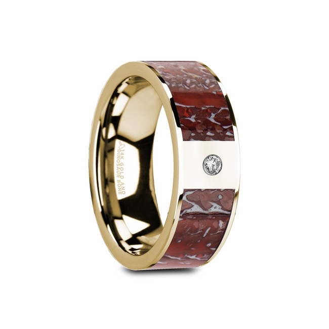 Amphinomus Flat Polished 14K Yellow Gold Ring with Red Dinosaur Bone & White Diamond from Vansweden Jewelers