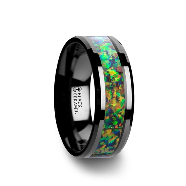 Axylus Black Ceramic Wedding Band with Beveled Edges and Blue & Orange Opal Inlay from Vansweden Jewelers