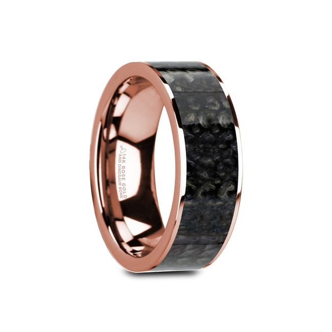 Ptous Flat Polished 14K Rose Gold Ring with Blue Dinosaur Bone Inlay and Polished Edges from Vansweden Jewelers