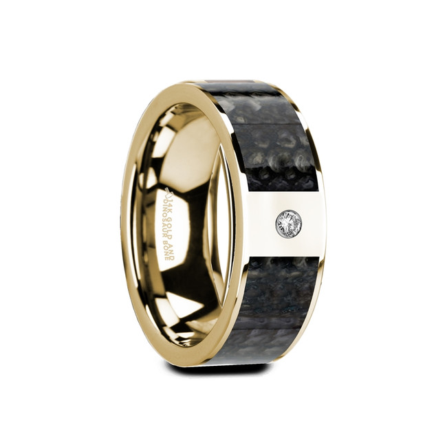Trochilus Flat Polished 14K Yellow Gold Ring with Blue Dinosaur Bone Inlay & White Diamond from Vansweden Jewelers