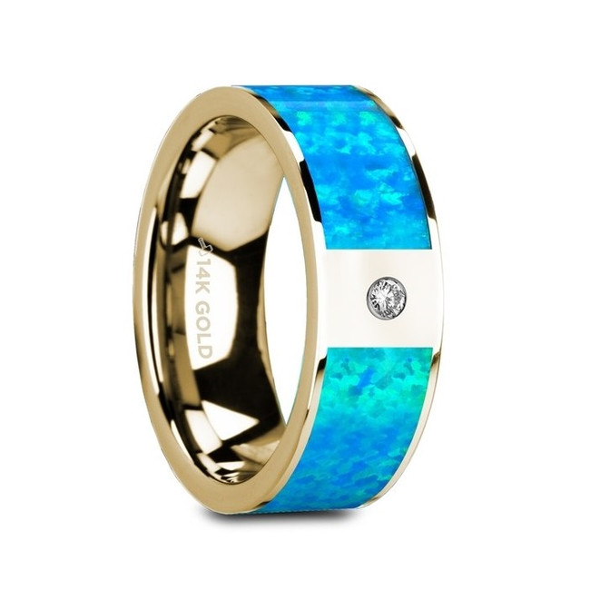 Dorus Flat Polished 14K Yellow Gold Ring with Blue Opal Inlay & White Diamond