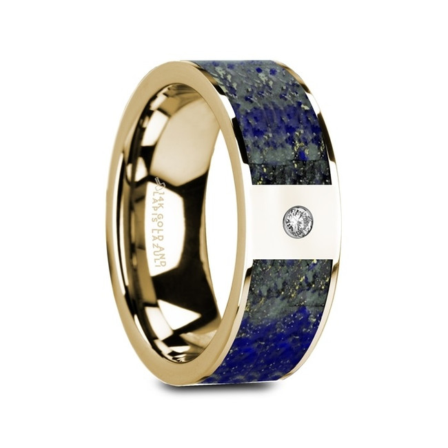 Canthus Flat Polished 14K Yellow Gold Ring with Blue Lapis Lazuli Inlay & White Diamond from Vansweden Jewelers