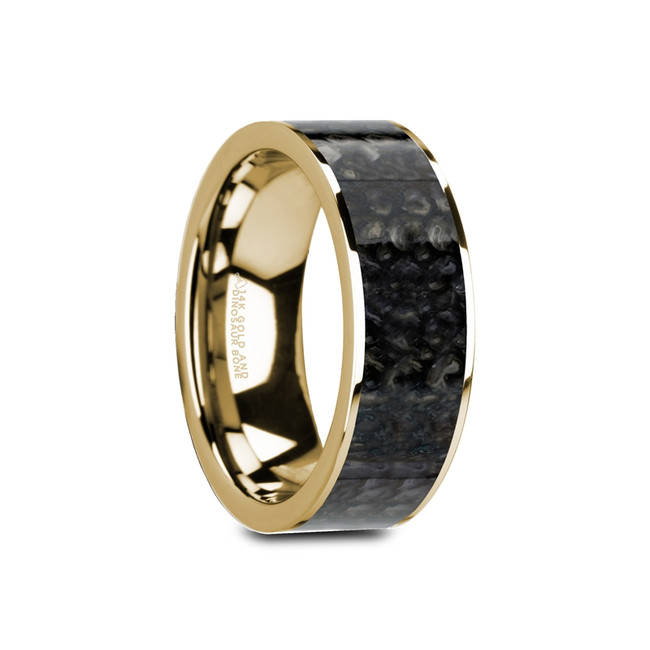 Peneleos Flat Polished 14K Yellow Gold Ring with Blue Dinosaur Bone Inlay and Polished Edges from Vansweden Jewelers