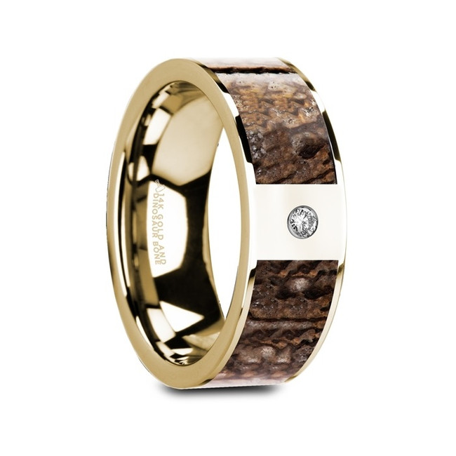 Thersander Flat Polished 14K Yellow Gold Ring with Brown Dinosaur Bone & White Diamond from Vansweden Jewelers