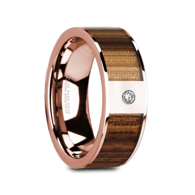 Cleobule Flat Polished 14K Rose Gold Ring with Zebra Wood Inlay & White Diamond from Vansweden Jewelers