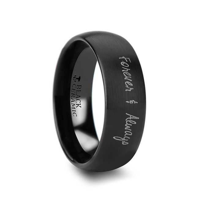 Hyacinthus Handwritten Engraved Domed Black Tungsten Ring with Brushed Finish from Vansweden Jewelers