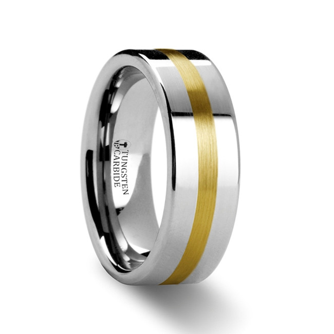 Capaneus Gold Inlaid Flat Tungsten Ring from Vansweden Jewelers