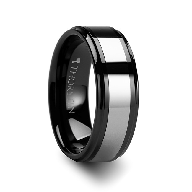 Chrysothemis Raised Center Black Ceramic Ring with Tungsten Inlay from Vansweden Jewelers