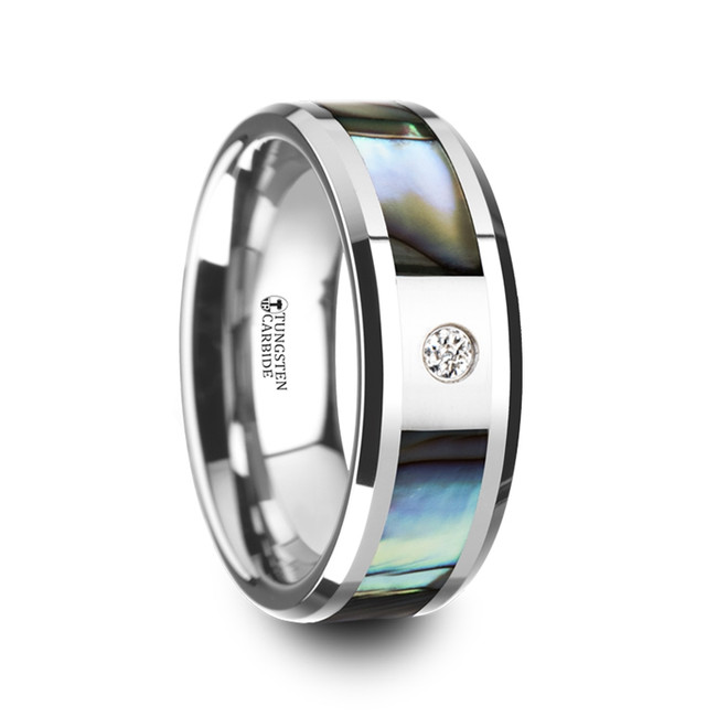 Periphas Mother of Pearl Inlay Tungsten Carbide Ring with Beveled Edges and White Diamond from Vansweden Jewelers