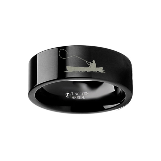 Bucolion Landscape Scene with Fishing Boat and Fishermen Engraved Flat Black Tungsten Ring from Vansweden Jewelers
