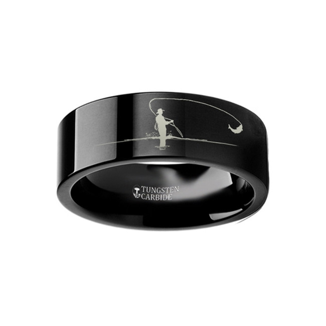 Phaenops Landscape Scene with Fishermen Engraved Flat Black Tungsten Ring from Vansweden Jewelers