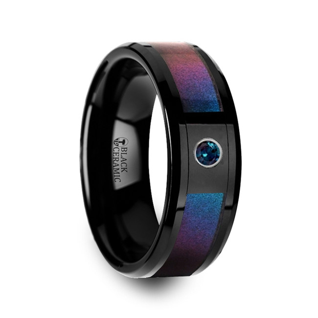 Astyanassa Black Ceramic Ring with Blue & Purple Color Changing Inlay and Alexandrite from Vansweden Jewelers