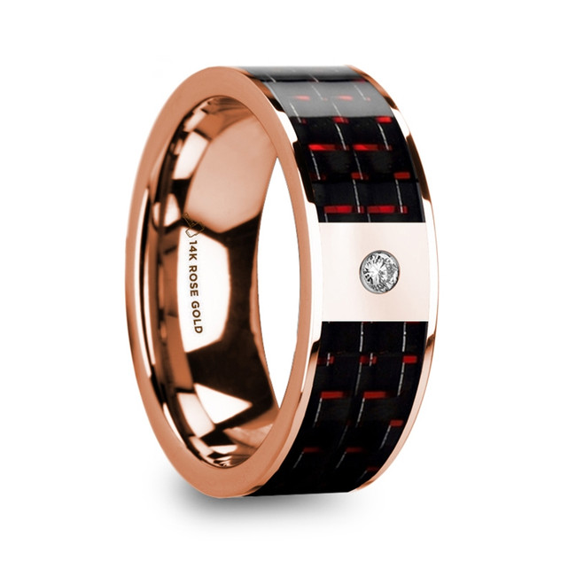 Phylacus Men's 14k Rose Gold Flat Wedding Ring with Red & Black Carbon Fiber Inlay & Diamond from Vansweden Jewelers