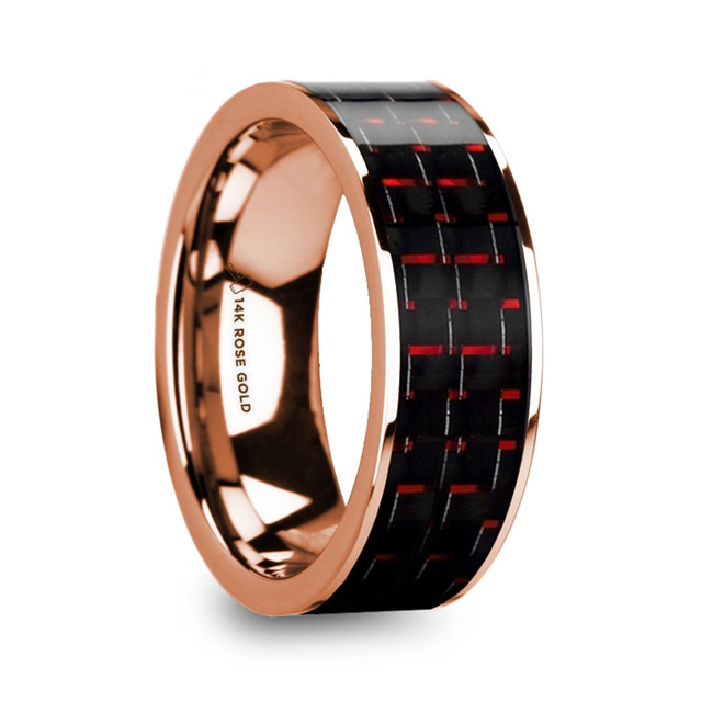 Polites Men's 14k Rose Gold Flat Wedding Band with Black & Red Carbon Fiber from Vansweden Jewelers