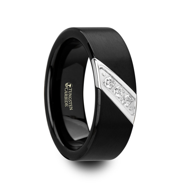 Amphion Flat Black Satin Finished Tungsten Carbide Wedding Band with Diagonal Diamonds Set in Stainless Steel from Vansweden Jewelers