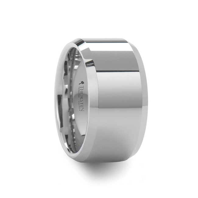 Canethus Beveled Polished White Tungsten Carbide Ring from Vansweden Jewelers
