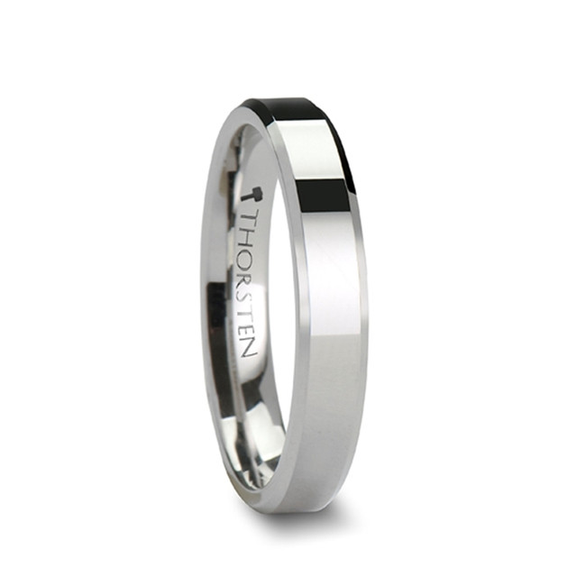 Cydon White Tungsten Carbide Ring with Beveled Edges from Vansweden Jewelers