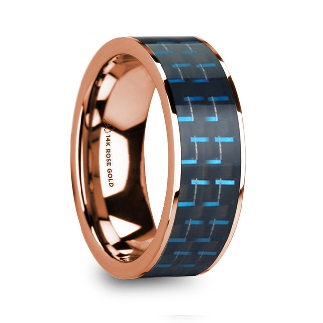 Cydippe Polished 14k Rose Gold and Black & Blue Carbon Fiber Inlaid Flat Wedding Ring from Vansweden Jewelers