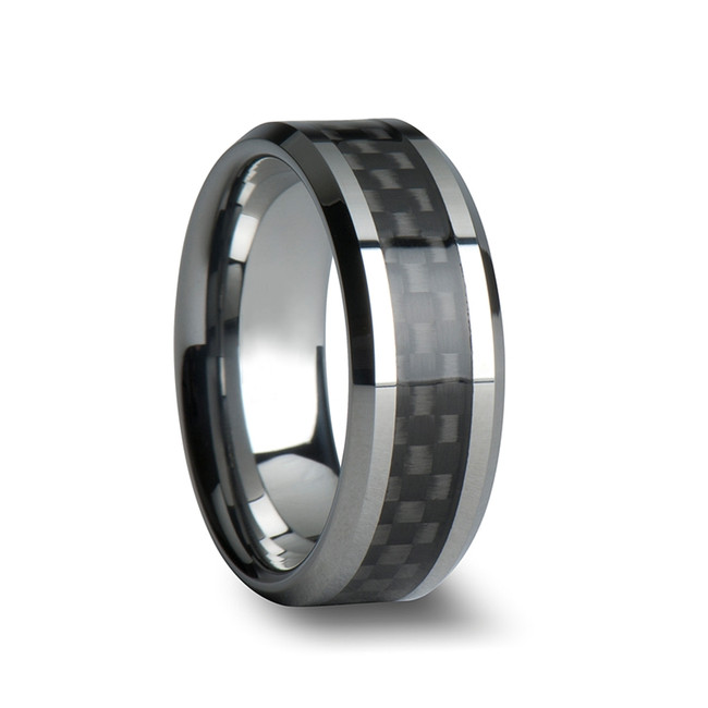 Haemon Tungsten Carbide Wedding Ring with Black Carbon Fiber Inlay from Vansweden Jewelers
