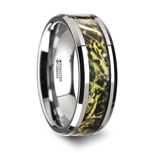 Eurythemis Tungsten Carbide Wedding Band with Green Marsh Camo Inlay Ring from Vansweden Jewelers