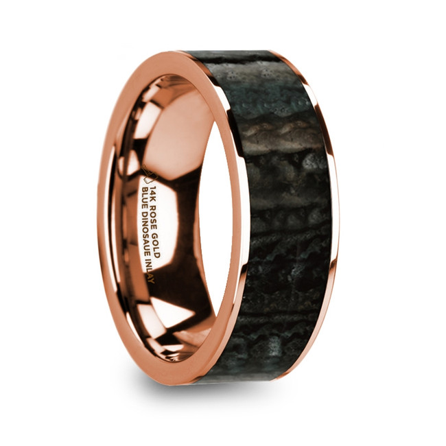 Alcimus Polished 14k Rose Gold Men's Flat Wedding Band with Blue Dinosaur Bone Inlay from Vansweden Jewelers
