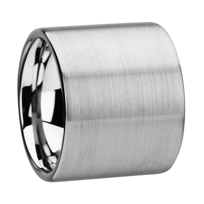 Pylaeus Flat Pipe Cut Tungsten Carbide Ring with Brushed Finish from Vansweden Jewelers