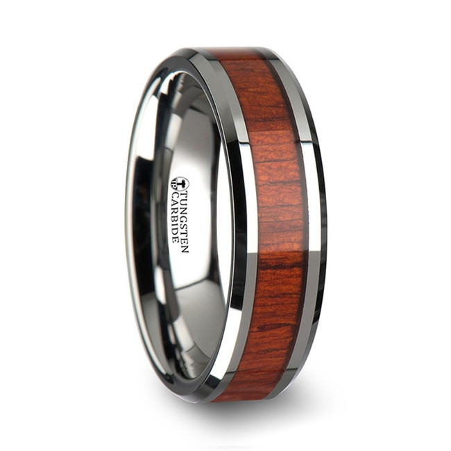 Agron Tungsten Wood Ring with Polished Bevels and Padauk Real Wood Inlay from Vansweden Jewelers