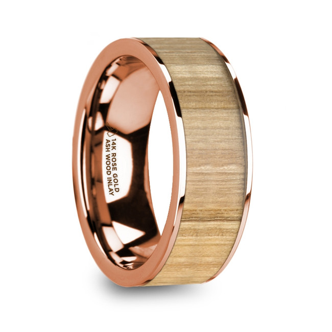 Astynome Polished 14K Rose Gold Wedding Ring with Ash Wood Inlay from Vansweden Jewelers