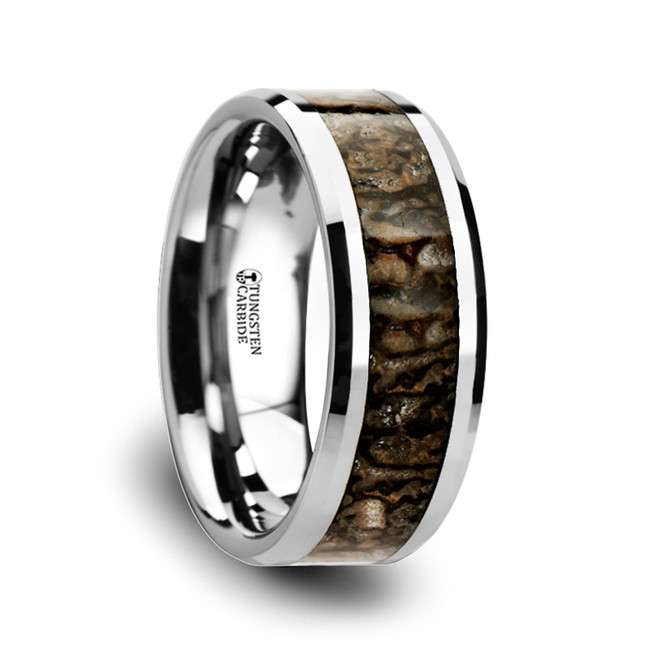 Phylas Dinosaur Bone Inlaid Tungsten Carbide Beveled Edged Ring from Vansweden Jewelers