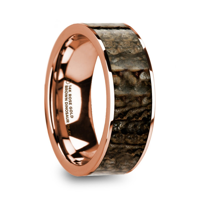 Clinis Polished 14k Rose Gold Men's Flat Wedding Ring with Brown Dinosaur Bone Inlay from Vansweden Jewelers