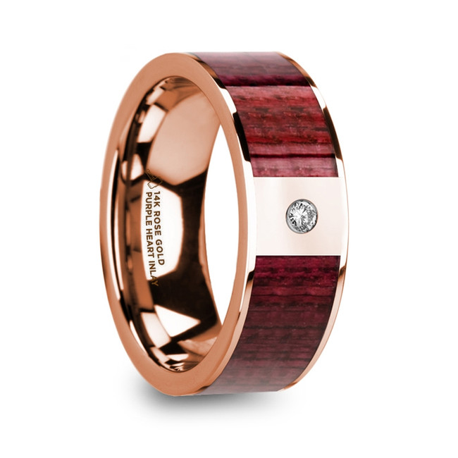 Myrina Men's Polished 14k Rose Gold Wedding Band with Purpleheart Wood Inlay & Diamond from Vansweden Jewelers