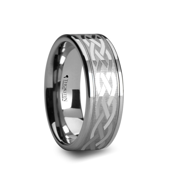 Bienor Pipe Cut Tungsten Carbide Ring with Celtic Design from Vansweden Jewelers