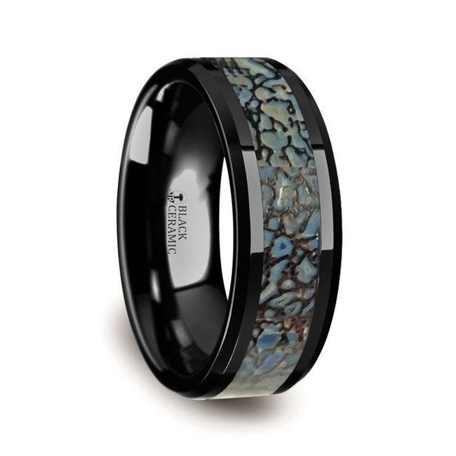 Hyettus Blue Dinosaur Bone Inlaid Black Ceramic Beveled Edged Ring from Vansweden Jewelers