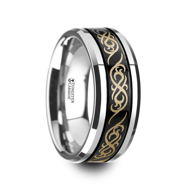 Poseidon Black Tungsten Carbide Wedding Ring with Dual Offset Grooves and Laser Engraved Celtic Pattern from Vansweden Jewelers