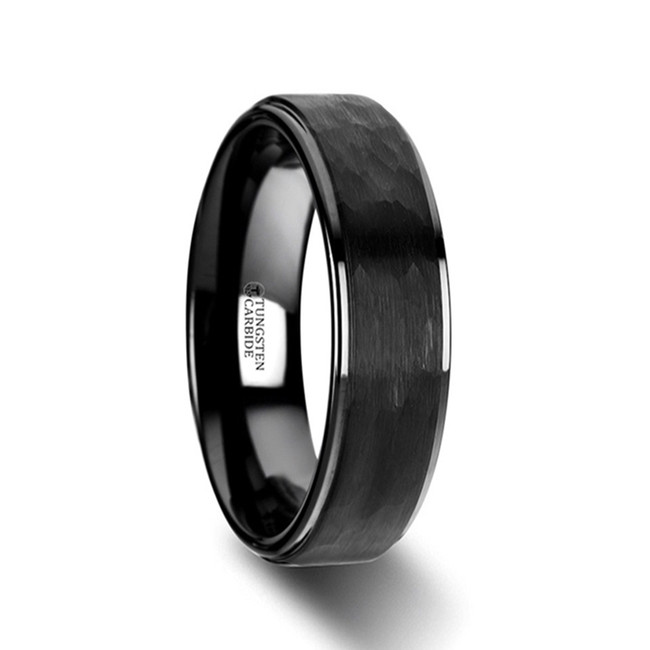 Aion Raised Hammer Finish Step Edge Black Tungsten Carbide Wedding Band with Brushed Finish from Vansweden Jewelers