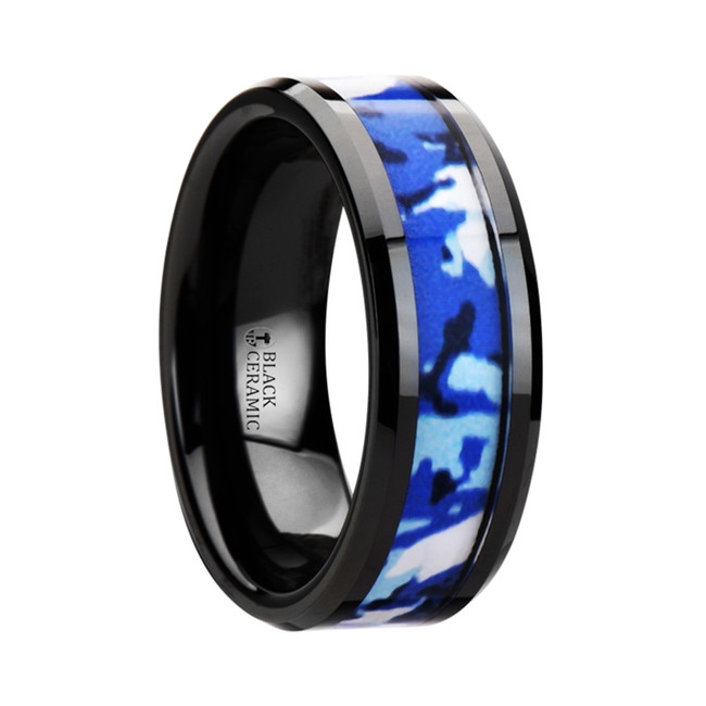 Enceladus Black Ceramic Ring with Blue and White Camouflage Inlay from Vansweden Jewelers