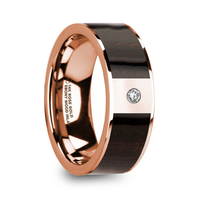 Crius Men's Polished 14k Rose Gold & Ebony Wood Inlaid Wedding Ring with Diamond Center from Vansweden Jewelers