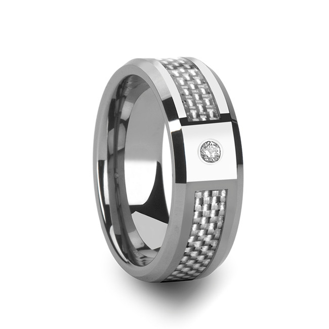 Corus Tungsten Carbide Ring with White Carbon Fiber and White Diamond