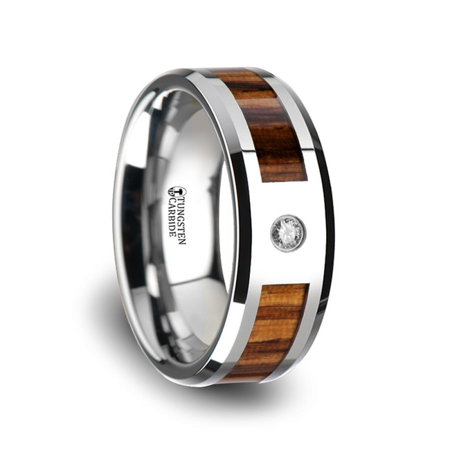 Nyx Tungsten Carbide Diamond Ring with Beveled Edges and Real Zebra Wood Inlay from Vansweden Jewelers