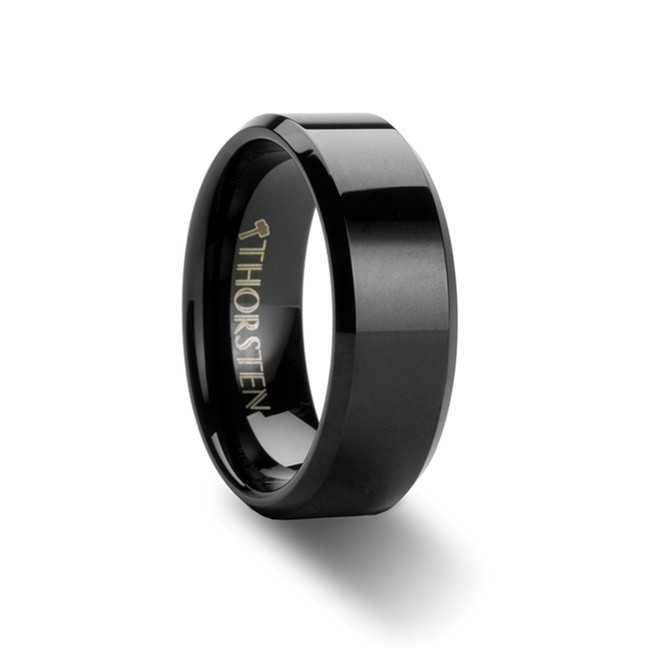 Bia Beveled Black Tungsten Carbide Ring from Vansweden Jewelers