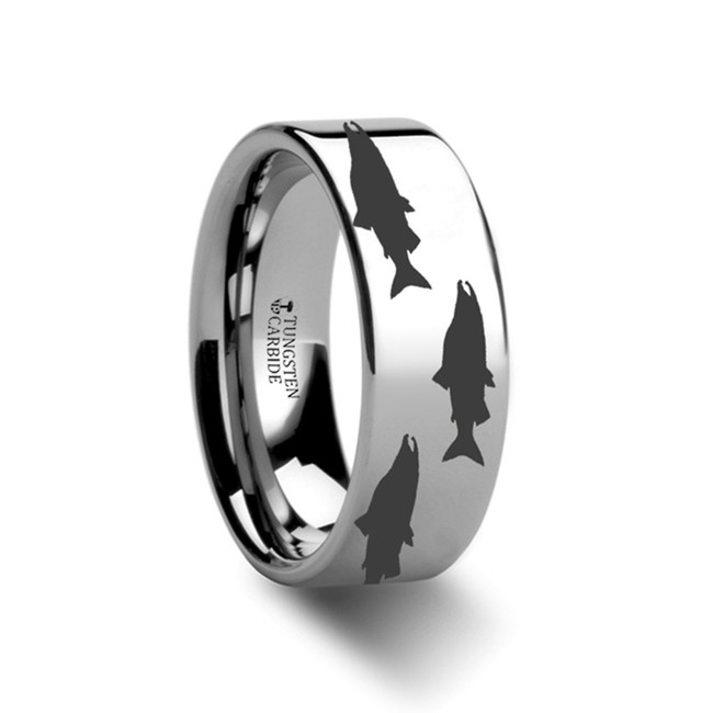 Ourea Salmon Pattern Engraved Flat Tungsten Ring from Vansweden Jewelers