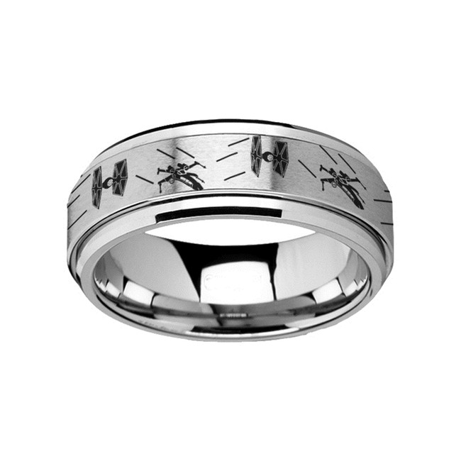 Atlas Spinning Engraved Tie Fighter X-Wing Design Tungsten Carbide Spinner Wedding Band from Vansweden Jewelers