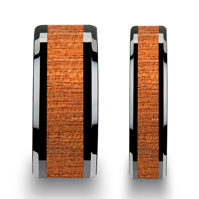 Achelous African Sapele Wood Inlaid Black Ceramic Couple's Matching Wedding Band Set from Vansweden Jewelers