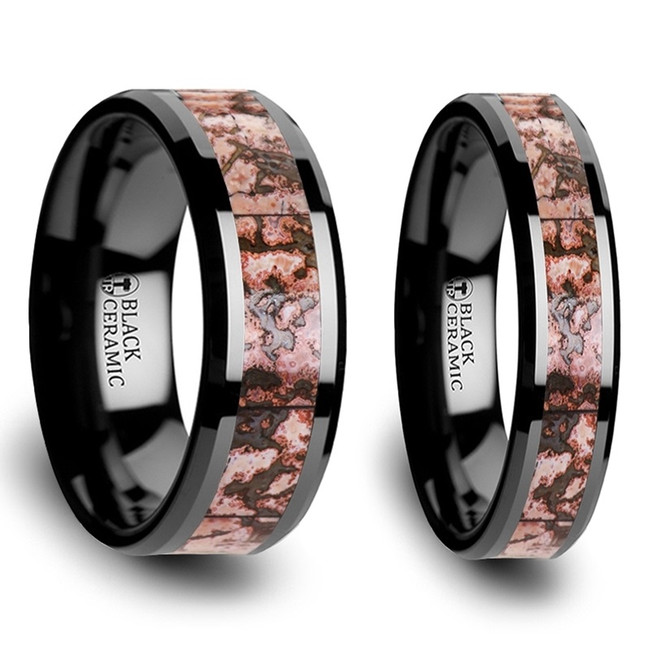 Pythia Pink Dinosaur Bone Inlaid Black Ceramic Couple's Matching Wedding Band Set